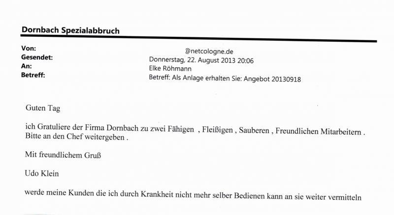 kundenmeinungen zum abbruchunternehmen dornbach spezialabbruch aus nrw. Black Bedroom Furniture Sets. Home Design Ideas
